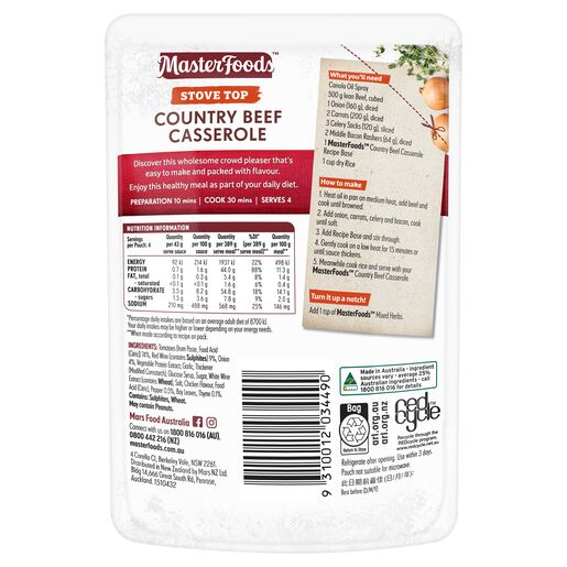 Country Beef Casserole Stove Top Recipe Base 175g