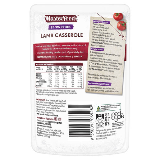 Lamb Casserole Slow Cook Recipe Base 175g