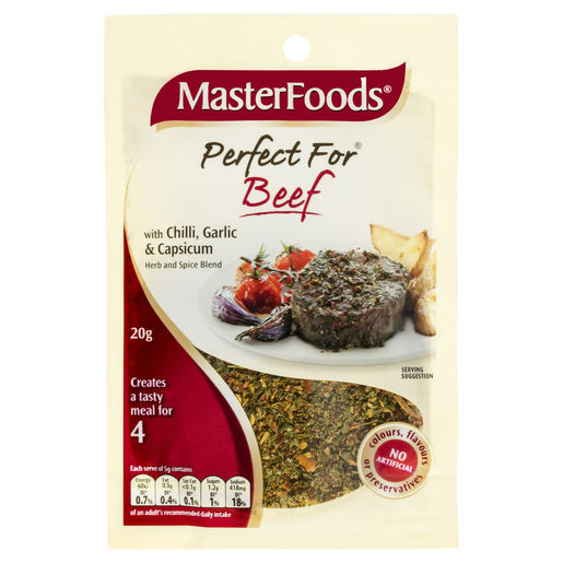 Perfect For Beef Seasoning Blend with Chilli, Garlic & Capsicum 20g