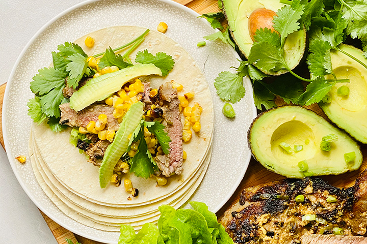 Lemon-Mustard-Steak-and-Roast-Corn-Tacos