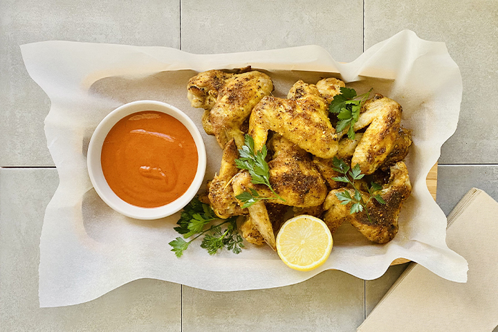 Moroccan Chicken Wings with Sriracha Dipping Sauce