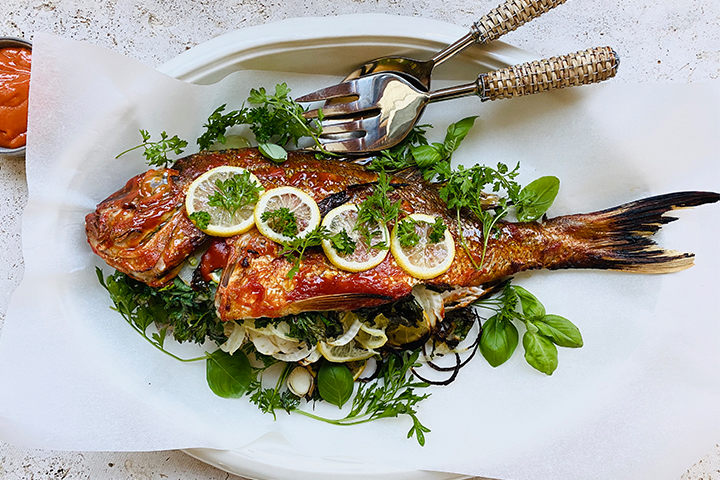 Whole Baked Glazed Fish with Steamed Fragrances